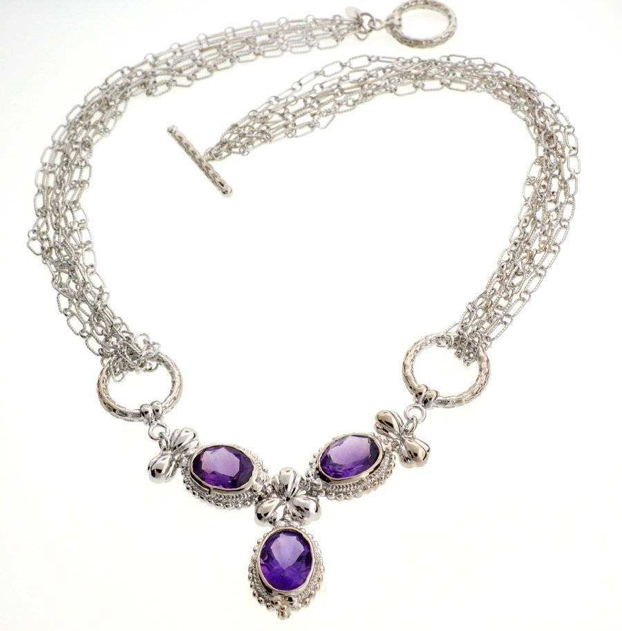 APP: 3k 10CT  Oval Cut Amethyst Sterl Silver Necklace