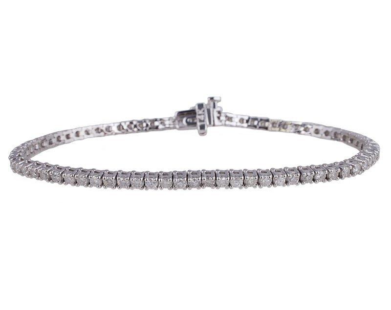 APP: 11k 14kt White Gold, 2 CT Diamond Tennis Bracelet