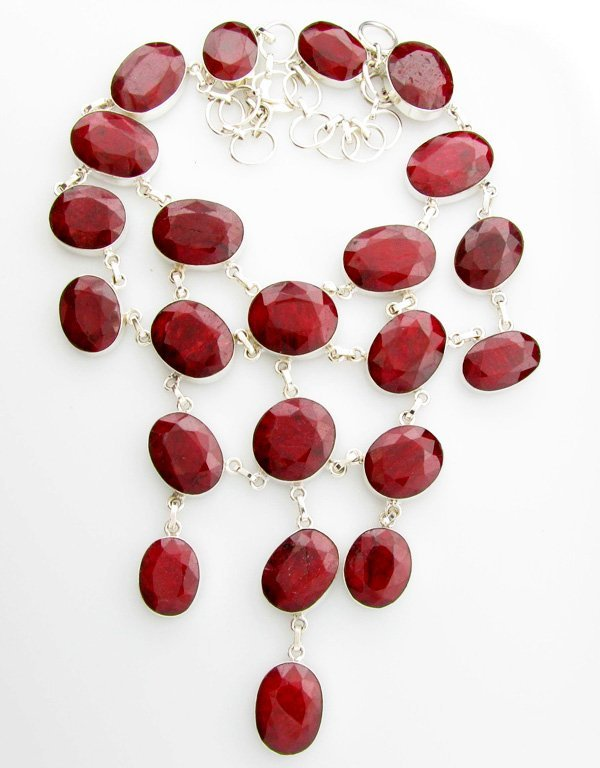 APP: 30k 428CT  Mixed Cut Ruby & Sterl Silver Necklace