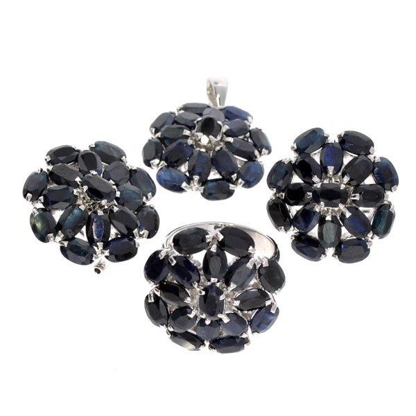 APP: 19k Sapphire & Silver Ring, Pendant, & Earrings
