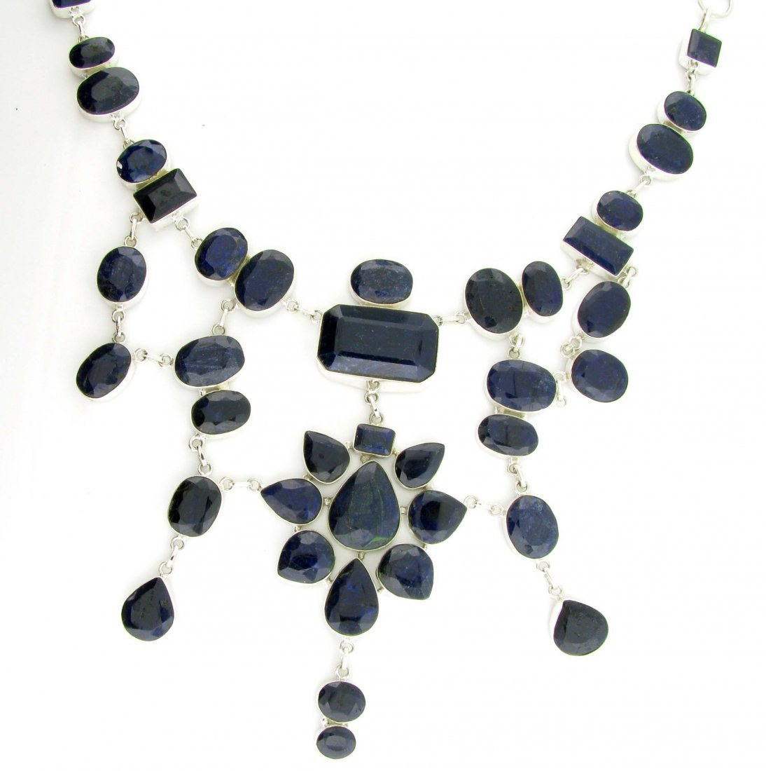 APP: 30k 458CT  Mixed Cut Sapphire & Silver Necklace