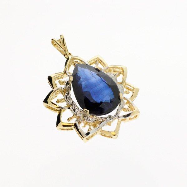 APP: 20k 21.64CT 14kt Gold, Sapphire & Diamond Pendant