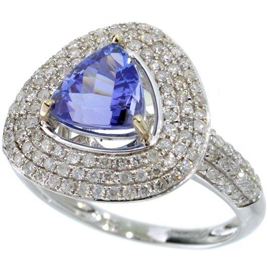 APP: 7k *14 kt White Gold 1 CT Tanzanite & Diamond Ring