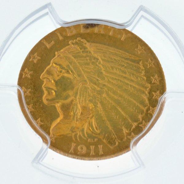 *1911 $2.50 U.S Indian Head Type AU Details Gold Coin