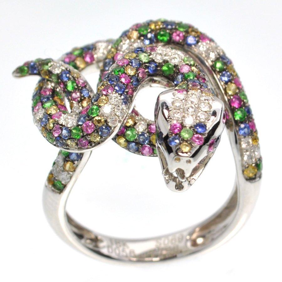APP: 7k *18kt White Gold, 1CT Diamond & Gems Ring