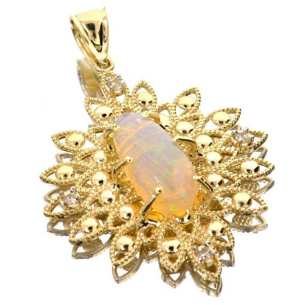 APP: 5k 14kt Yellow & White Gold, Opal & Topaz Pendant