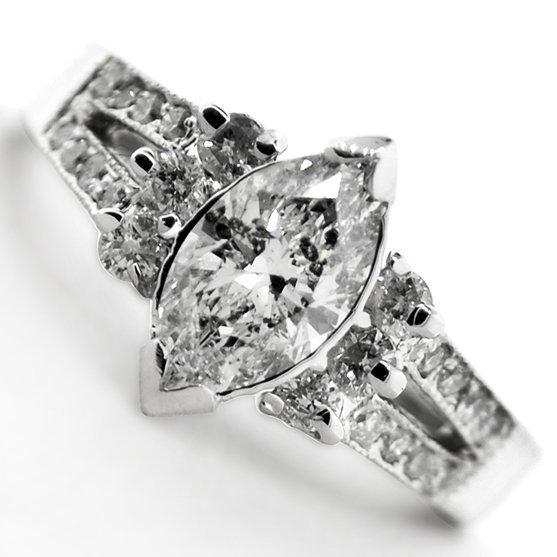 APP: 6.3k *14 kt. White Gold, 1.32CT Diamond Ring
