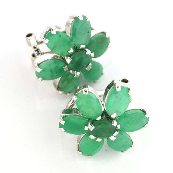 APP: 5k 4CT  Oval Cut Emerald Sterl Silver Earrings