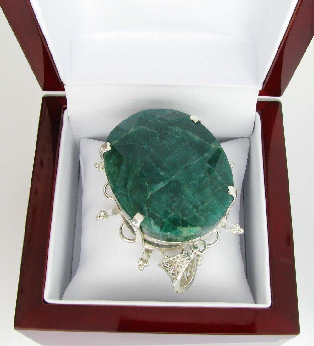 APP: 20k 335CT  Oval Cut Emerald & Sterl Silver Pendant