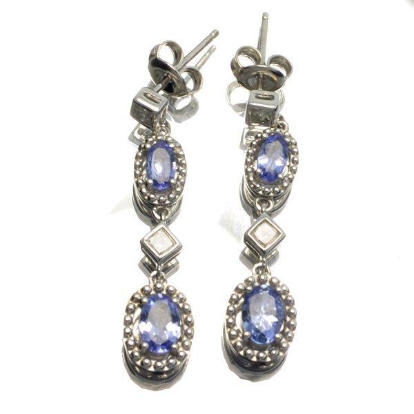 APP: 2k 1CT  Tanzanite & Diamond Sterl Silver Earrings