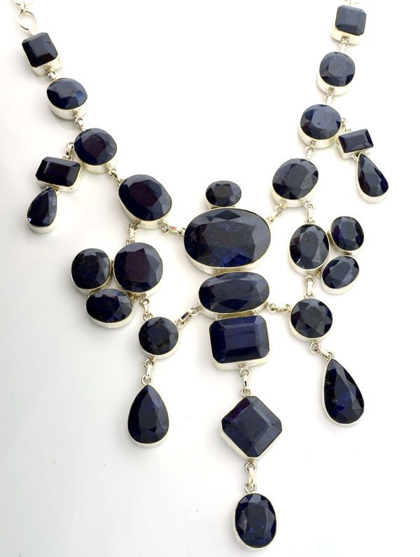 APP: 47k 748CT  Mixed Cut Sapphire & Silver Necklace