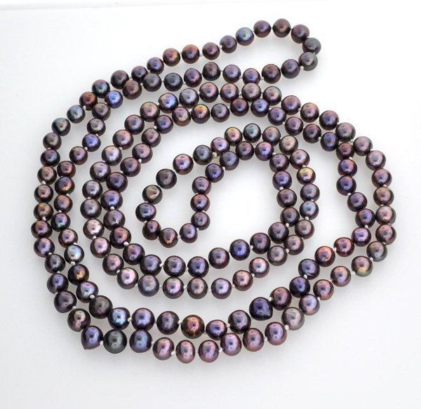"52"" Black Pearl Strand Necklace"