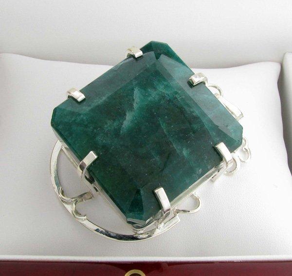 APP: 17k Sebastian 388CT Emerald & Silver Pendant