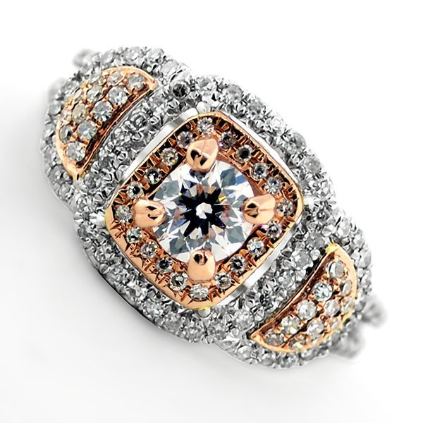APP: 9k *14kt White & Rose Gold, 1CT Round Diamond Ring