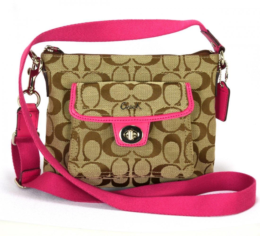 Coach Signature Pink Pocket Swing Pack Cross Body Bag