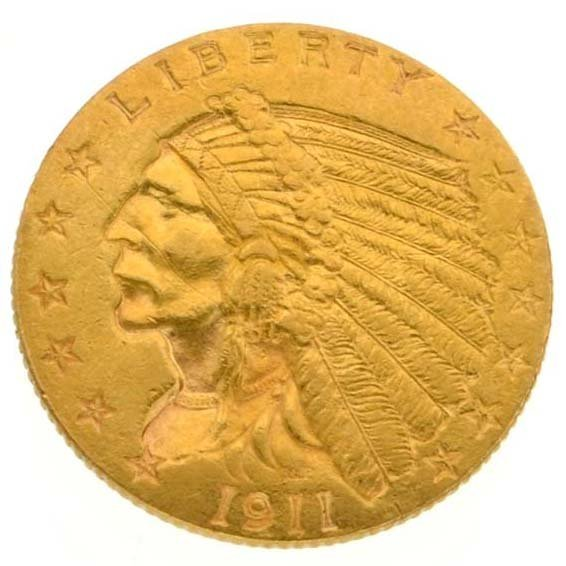 1911 $2.50 U.S Indian Head Type Gold Coin - Investment