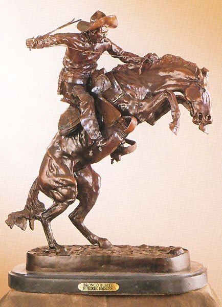 Reissue Patinated Bronze Sculpture ''Bronco Buster'' by