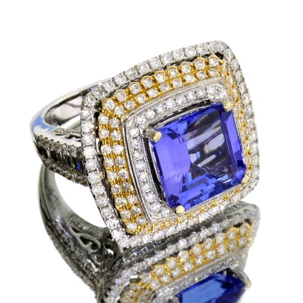 APP: 32k *14 kt. WT Gold, Tanzanite & 3CT Diamond Ring