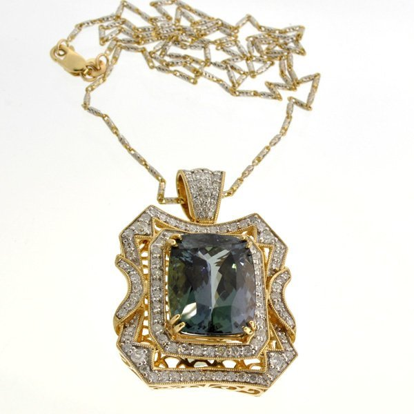 APP: 26k *14 kt Gold Natural Zoisite & Diamond Pendant