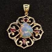 APP 7k 14kt Yellow  White Gold Opal  Ruby Pendant