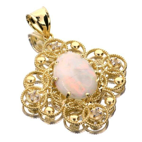 APP: 3k 14kt Yellow & White Gold, Opal & Topaz Pendant