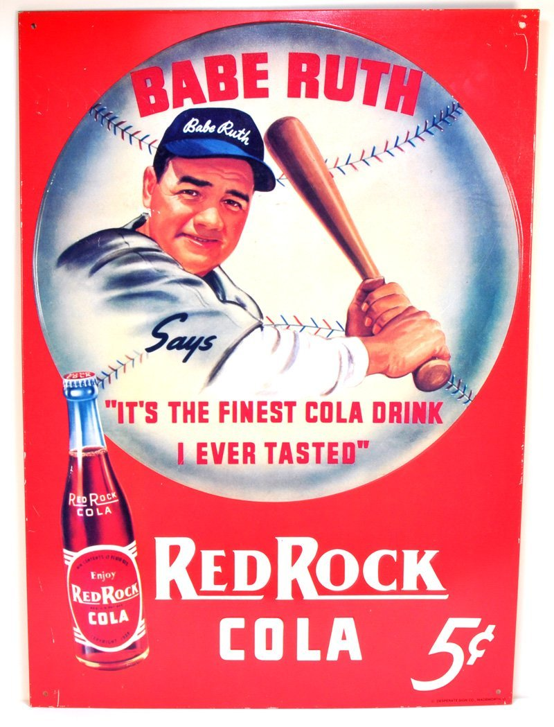 Babe Ruth Red Rock Cocoa-Cola Sign