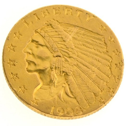 *1908 $2.5 U.S Indian Head Type Gold Coin - Investment