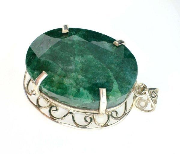 APP: 14k Sebastian 420CT Oval Emerald & Silver Pendant