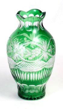 "9.5"" Green Cut Overlay Glass Vase"