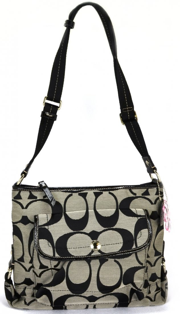 Coach Kyra Signature Black/Silver File Crossbody Bag