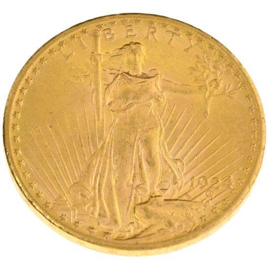 *1924 $20 U.S. Saint Gaudens Type Gold Coin