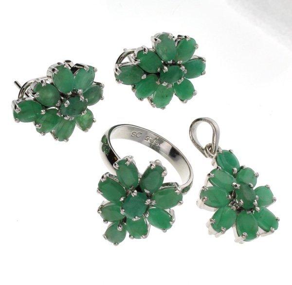 APP: 16k 11CT Emerald Silver Ring, Pendant, & Earrings