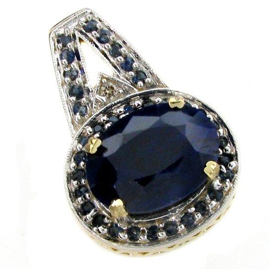 APP: 9.8k 14 kt. Gold, 22.96CT Blue Sapphire Pendant