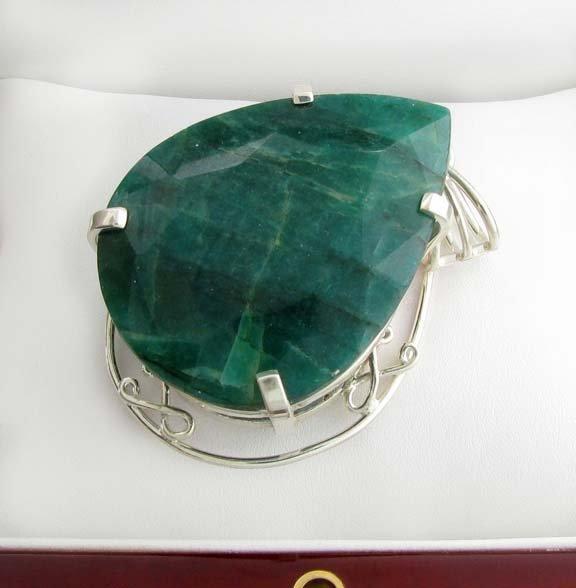 APP: 13k Sebastian 329CT Pear Emerald & Silver Pendant