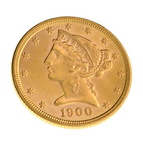 *1900 $5 U.S Liberty Head Type Gold Coin - Investment