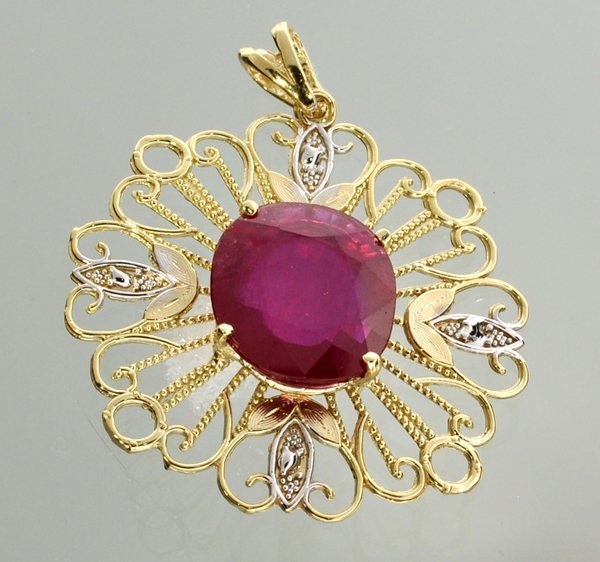 APP: 10k 14kt White & Yellow Gold 8CT Oval Ruby Pendant