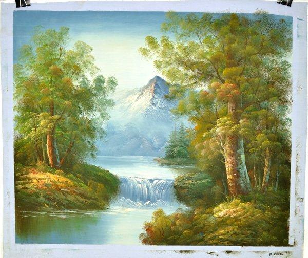"Oil Painting- Mountain Landscape w/Lake- 24""x27"""