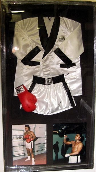 Muhammad Ali Signed: Robe, Trunks and Glove Collage -P-