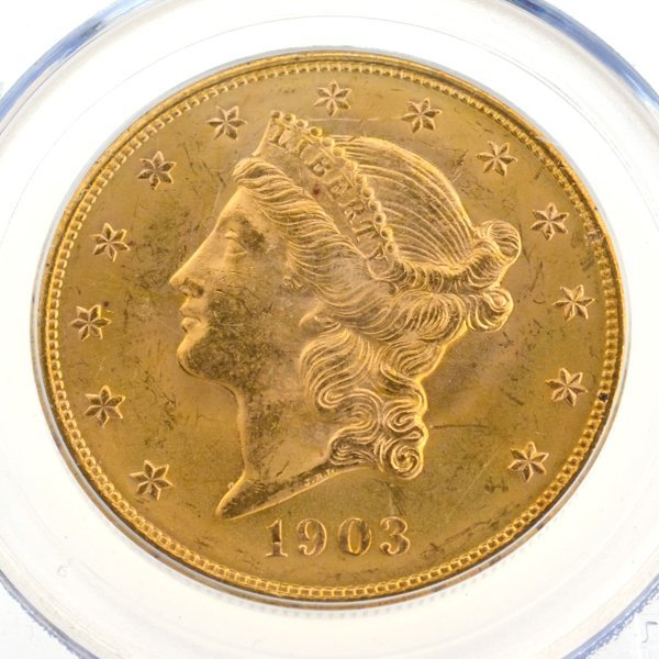 *1903 $20 U.S. PCGS MS64 Double Eagle Gold Piece Coin