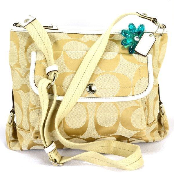 Coach Kyra Signature Khaki /White File Crossbody Bag