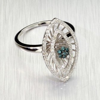 APP: 1k Blue Diamond Platinum Sterling Silver Ring