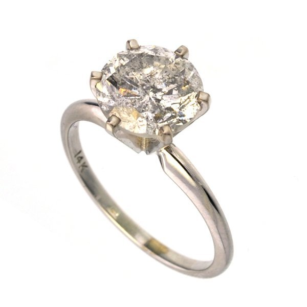 *14 kt. White Gold, 3.02CT Round Cut Diamond Ring