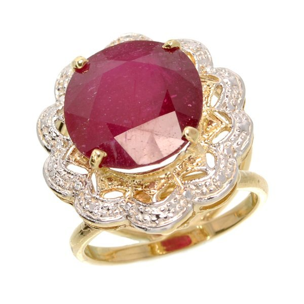 APP: 10k 14kt Yellow & White Gold, 14CT Oval Ruby Ring