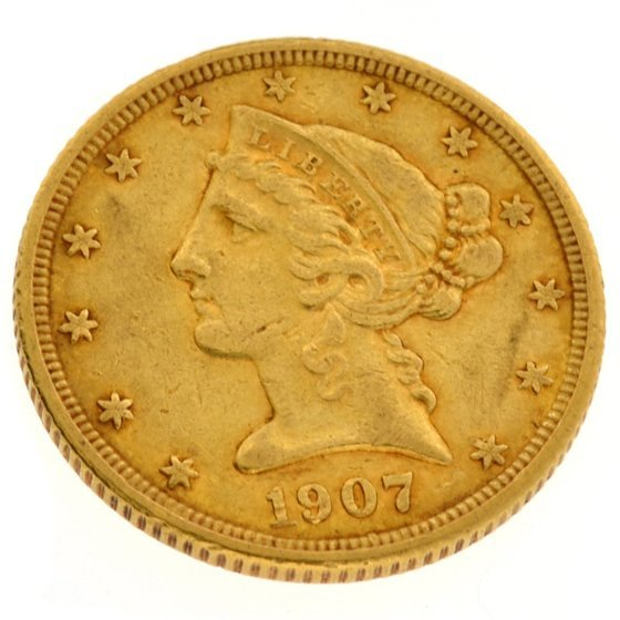 1907 $5 U.S. Liberty Head Gold Coin - Investment