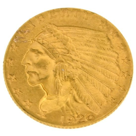 1926 $2.50 U.S Indian Head Type Gold Coin - Investment
