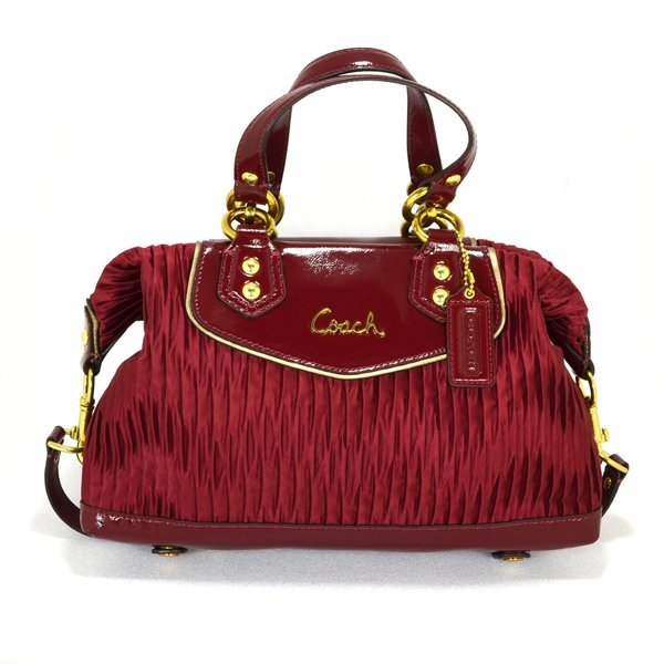New Coach Ashley Gathered Sateen Satchel Handbag