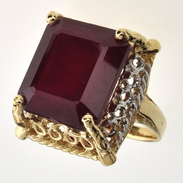 APP: 17.6k 14 kt Gold 22.29CT Emerald Cut Ruby Ring