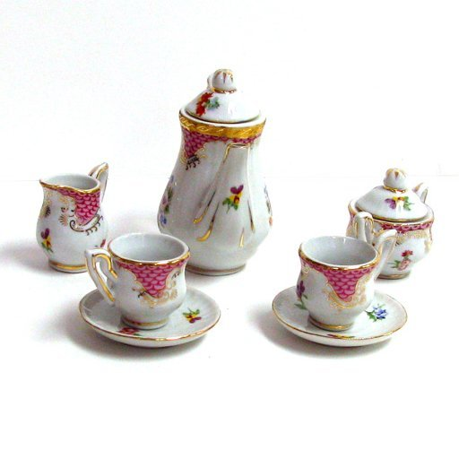 10 Piece Pink Rose Tea Set