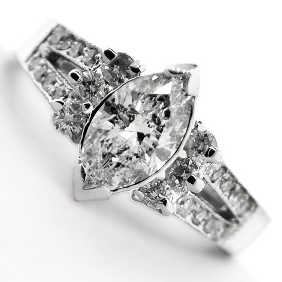 APP: 6.3k *14 kt. White Gold, 1.32CT Diamond Ring