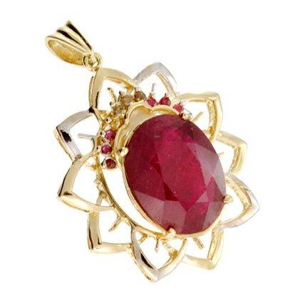 APP: 15k 14kt Yellow & Wt Gold, Ruby & Diamond Pendant